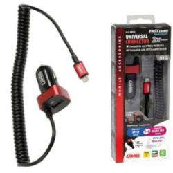CARICABATTERIA DA AUTO UNIVERSAL APPLE 8 PIN E MICRO USB + EXTRA USB 2500ma 38842