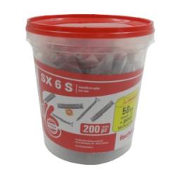 BOX TASSELLO NYLON C/VITE SX 6 S PZ.200 + PUNTA SDS PLUS MM.6